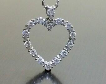 14K White Gold Heart Diamond Necklace - 14K Gold Diamond Heart Necklace - Gold Heart Pendant - 14K Diamond Pendant - 14K Diamond Necklace