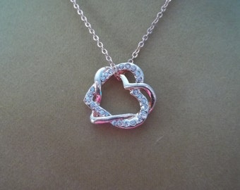 Copper and Rhinestone Intertwined Heart Necklace - N123