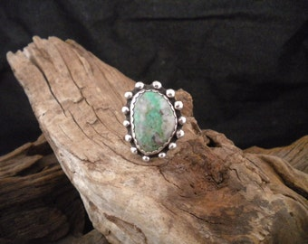 Size 9.25 Ring Sterling Silver Kingman Turquoise Southwest Design Handcrafted Signed HancraftedSWDesigns