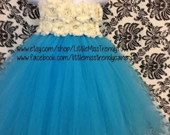 One Shoulder Turquoise Flower Girl Dress, Turquoise and Ivory Tutu Dress, Ivory Flower Tutu Dress, Turquoise Tutu Birthday Dress