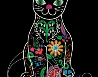 MACHINE EMBROIDERY FILE - Mexican cat
