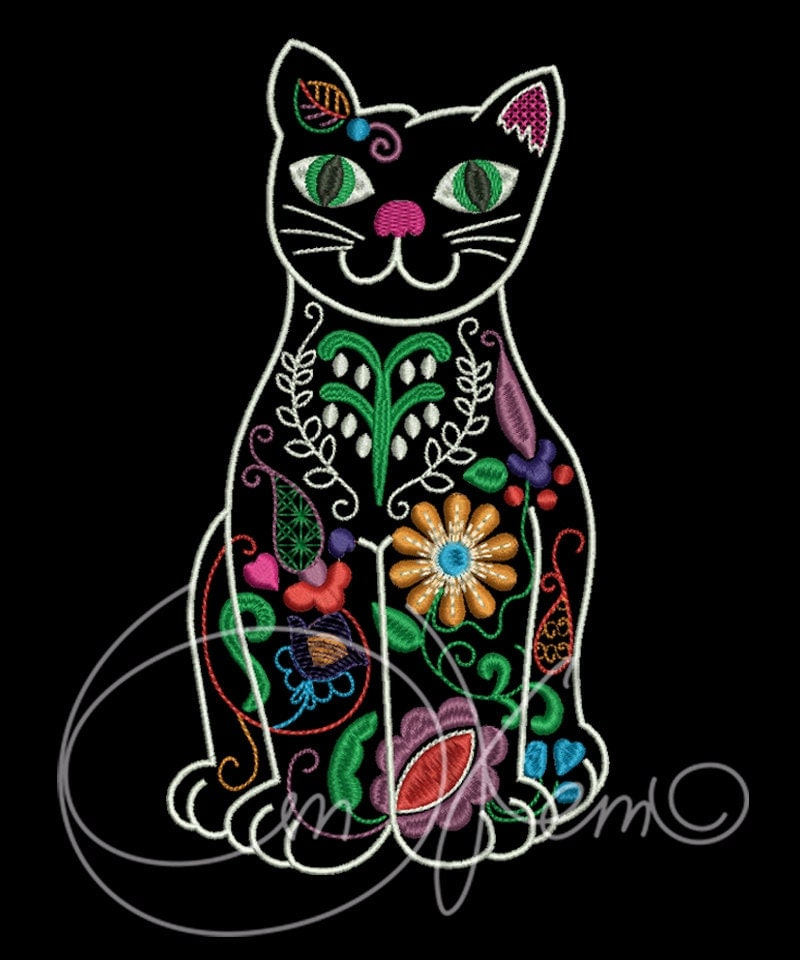 Machine embroidery file mexican cat