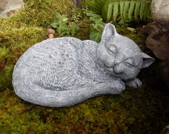 Cat Statue,Cat Memorial Statue,Sleeping Cat Statue,Cat Lovers Gift,Concrete Cat Memorial Statue