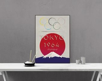 Tokyo Olympics 1964 - Retro Styled Poster - Vintage look - Mount Fuji - recreation