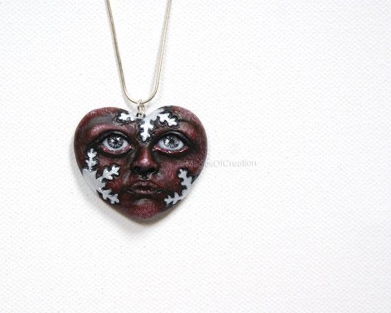 Love Is Winter, OOAK heart sculpture pendant
