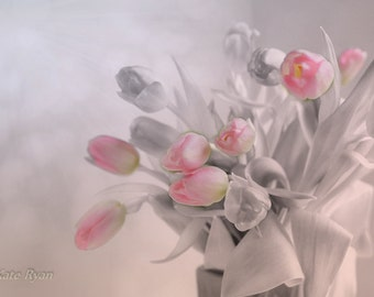 Pink Flowers Print, Dreamy Pink Tulips, Floral Art, Photograph, Pink, Gray, White, Wall Art, Home, Bedroom, Bath, Spa, Office, Girl Bedroom