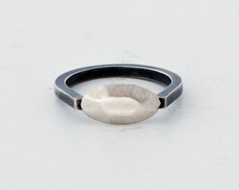 sterling silver rings - silver pinky ring - two tone ring - minimalist ring - dainty ring - 925 streling silver jewelry - Oval SOX