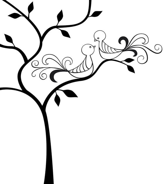 Line Art Love Images : Vector illustration of love birds sitting in a tree instant