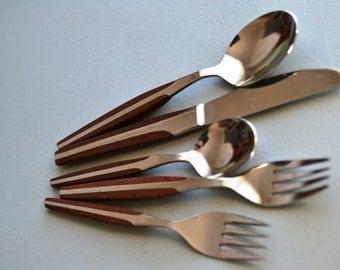 20 Pcs MCM Danish Modern Eldan Ebosi ELD2 Brown Handle Stainless Steel Teak Look Flatware Silverware Midcentury Modern Spoon Fork Knife x 4