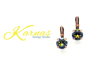 CRYSTAL GOLDEN SAHARA 8mm Crystal Chaton Drop Leverback Earrings  Swarovski Elements *Pick Your Finish *Karnas Design Studio *Free Shipping*