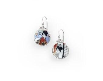 Antique china earrings, Porcelain jewelry, broken china jewellery, japanese motif earrings