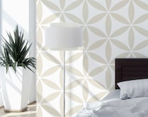 Flower Of The Life II - Decorative wall stencil for DIY project - Wallpaper look - Easy home decor - Geometric stencil
