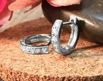 9.5MM Diamond Hoop | Pave | Solid 14K White Gold (14KW) | Huggie Earrings | Fine Jewelry | Free Shipping