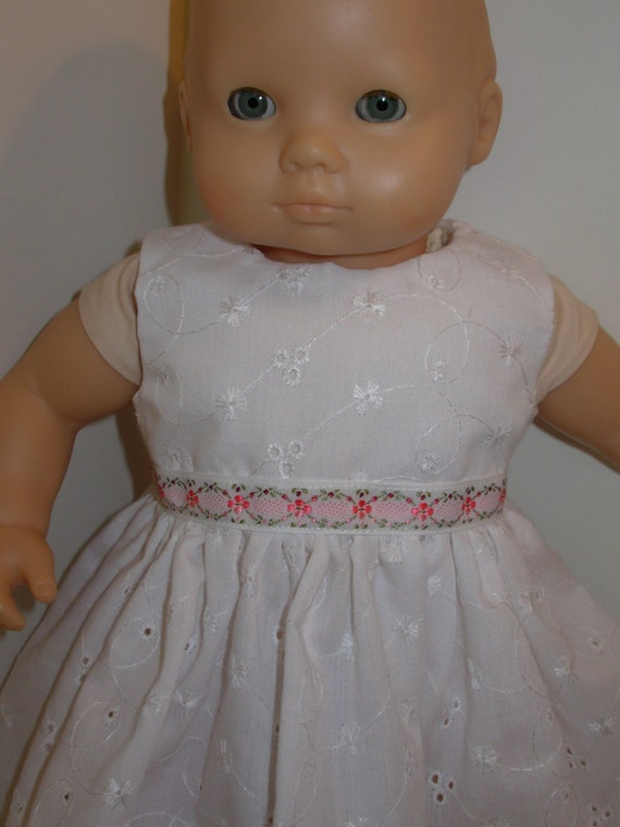 15 White Eyelet Dress for Bitty Baby or Twin Doll by
