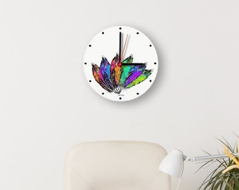 Printable clock face, rainbow feathers, DIY home decor for instant download