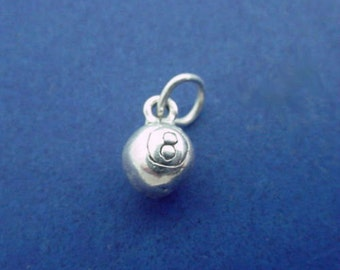 EIGHT BALL Charm, Pool or Billiards Game, Miniature Small .925 Sterling Silver Charm