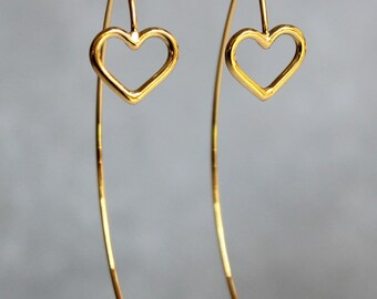 Gold drop earrings, gold heart earrings, modern earrings, jewelry for women, mom, sister.