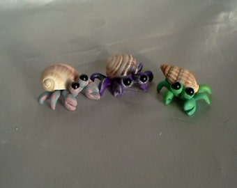 Hermit Crab Trio Custom Made in Pastel Colors of Polymer Clay Miniature Figurines for Fairy Garden Terrarium Decoration