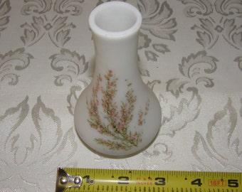 Vintage Dolhain Wirths Satin Opaque White Glass Vase Hand Painted
