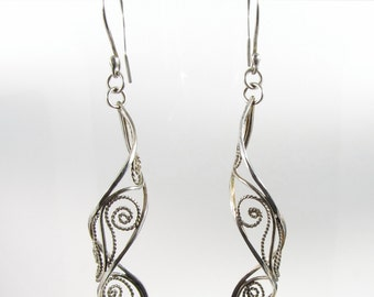 Silver Lace ~ Sterling Silver Filigree Earrings