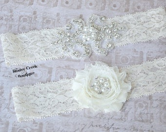 Wedding Bridal Garter - Ivory Lace Garter Set, Rhinestone Garter Set, Vintage Garter Set, Toss Garter, Keepsake Garter, Beaded Floral Flower