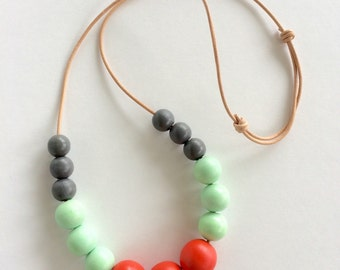 Custom painted jewelry, statement necklace, round bead necklace, retro jewelry, mint and coral, jewelry under 50, gift for girlfriend