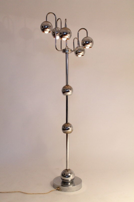 5 arm floor lamp chrome eyeball space age retro vintage mid for 5 arm chrome floor lamp