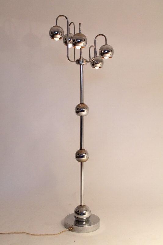 5 Arm Floor Lamp Chrome Eyeball Space Age Retro Vintage Mid