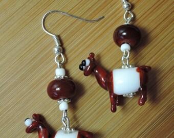 Glass Lampwork llama bead earrings in a reddish brown and white