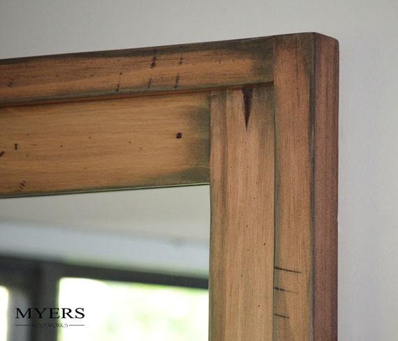 Simple Distressed Wood Mirror Bathroom Dark Brown Rustic By KennethDante