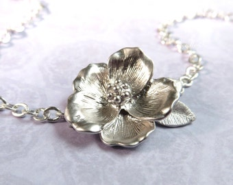 Silver Flower Necklace Floral Silver Necklace Flower Pendant Bridal Necklace Poppy
