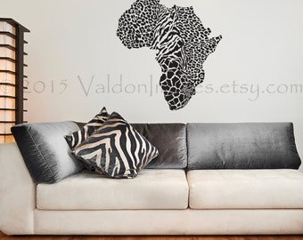 Map Of Africa In Animal Prints, Wall Decal, Map Wall Decal, Tiger Print