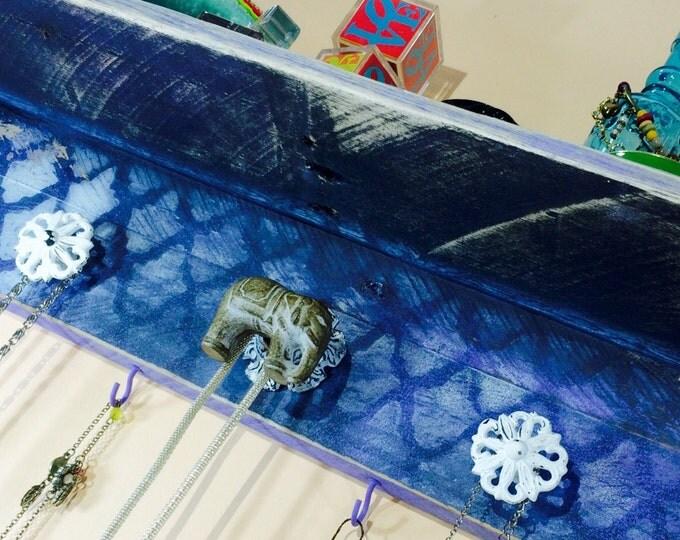 pallet wood shelves /floating nightstand/ wall organizer hanging shelf jewelry holder reclaimed wood decor elephant 5 knobs 4 lavender hooks