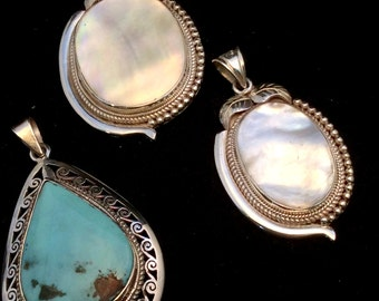 Mother of Pearl or Tibetan Turquoise Pendant. Teardrop or Oval, White, Robin Egg Blue, Sterling Silver, free US ship