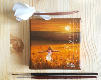 Miniature 4x4 oil painting Summer sunset painting Small oil painting Girl in a cornfield Orange brown yellow warm earthy colors SFA