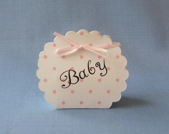 Baby Favor Boxes in Pink Poka Dot
