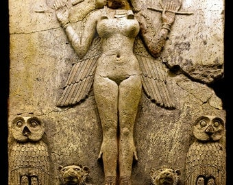 Queen of the Night Inanna Ishtar Lilith Goddess Relief High Quality Print