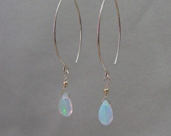 Gold Opal Earrings, Ethiopian Opal Gemstone Earrings, 14K Gold Filled Marquise Earrings, Briolettes, October Birthstone, Wedding Jewelry