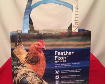 Repurposed, Recycled Nutrena Nature Wise Feather Fixer Chicken Feed Bag Tote, GROCERY BAG, Reusable Bag, Market Tote