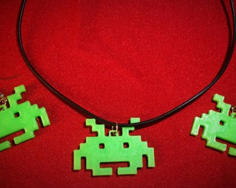 Space Invader Necklace and Earrings Set