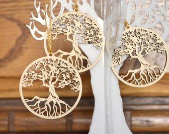 Wood Tree of Life: Set of three woodcut pendants