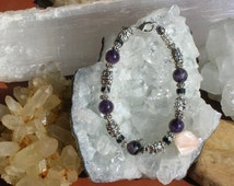 Amethyst and Onyx Semi Precious Gemstone Bracelet Grounding Inner Strength Self Mastery Overcoming Addiction Tinnitus Clear Communication