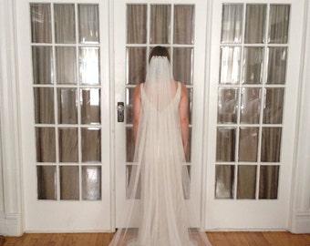 Faux Silk Tulle Chapel Length Veil (Plain, No Jewels)