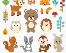 Woodland Clipart, Woodland Digital Clipart, Woodland Animal Digital Clipart, Woodland Animal Clipart, Forest Animal Clipart