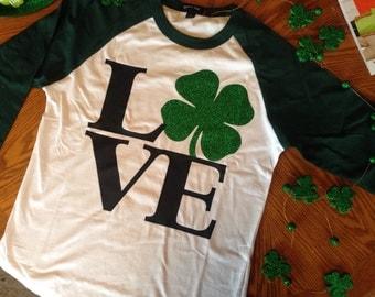 LOVE glitter green shamrock St. Patrick's Day raglan tee with 3/4 sleeves