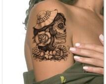 Temporary Tattoo Skull Waterproof Ultra Thin Realistic Fake Tattoos