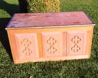 Vintage Bohemian Boho Chic Solid Oak Wood Trunk, Hope Chest, Toy Chest, Storage Bench, Carved wood, painted furniture, coffee table