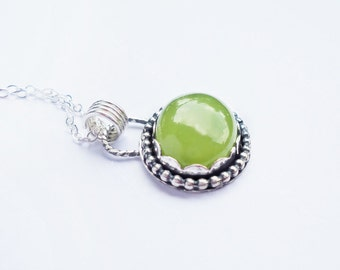 Green Chalcedony Oval Necklace, Metalwork necklace, Rustic Necklace, pendant necklace, bohemian jewelry, green gemstone, lime green, for her
