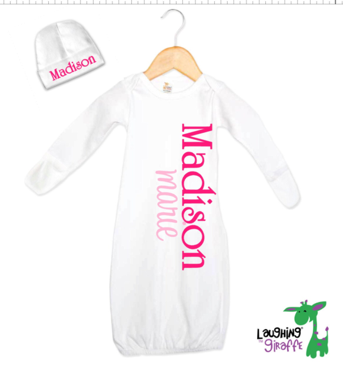 Personalized Baby Gift Sets : Personalized baby gift gown and hat set