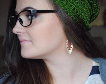 Boho Beanie, Green Boho Hat, Bohemian Beanie, Bohemian Hat, Green Slouchy Beanie, Slouchy Hat, Slouch Beanie, Slouch Hat, Slouchy Beanie Hat